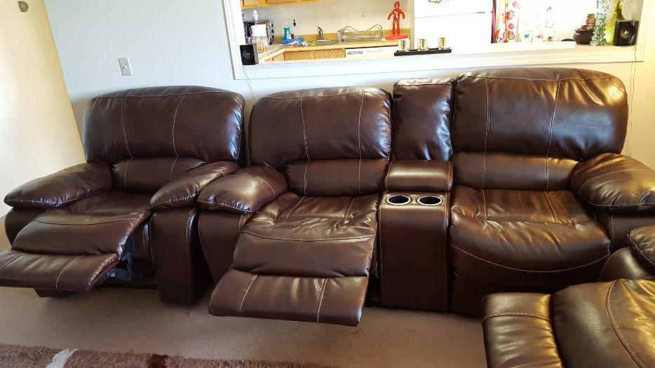 Few Month Old Brown Color Leather Recliner Sofa Set For