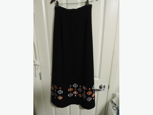 Vintage Black Wool Skirt or Strapless Dress with Emboidered Flowers