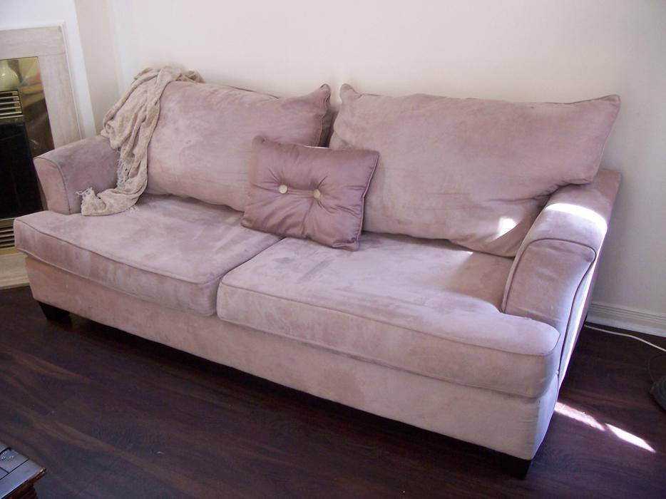 Elegant comfy large cream microsuede sofa for sale i for Comfy couches for sale
