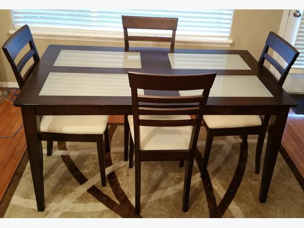 Modern Dining Room Table Glass Inserts With 4 Chairs Sooke Victoria