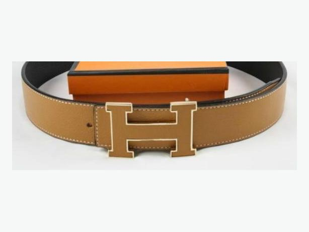 New Hermes Gold Trim Buckle Reversible Leather Belt Unisex