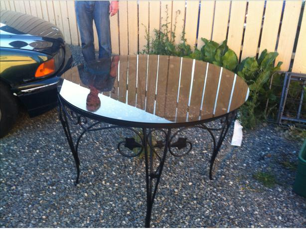Glass top cast iron table for sale victoria city victoria for Cast iron table with glass top