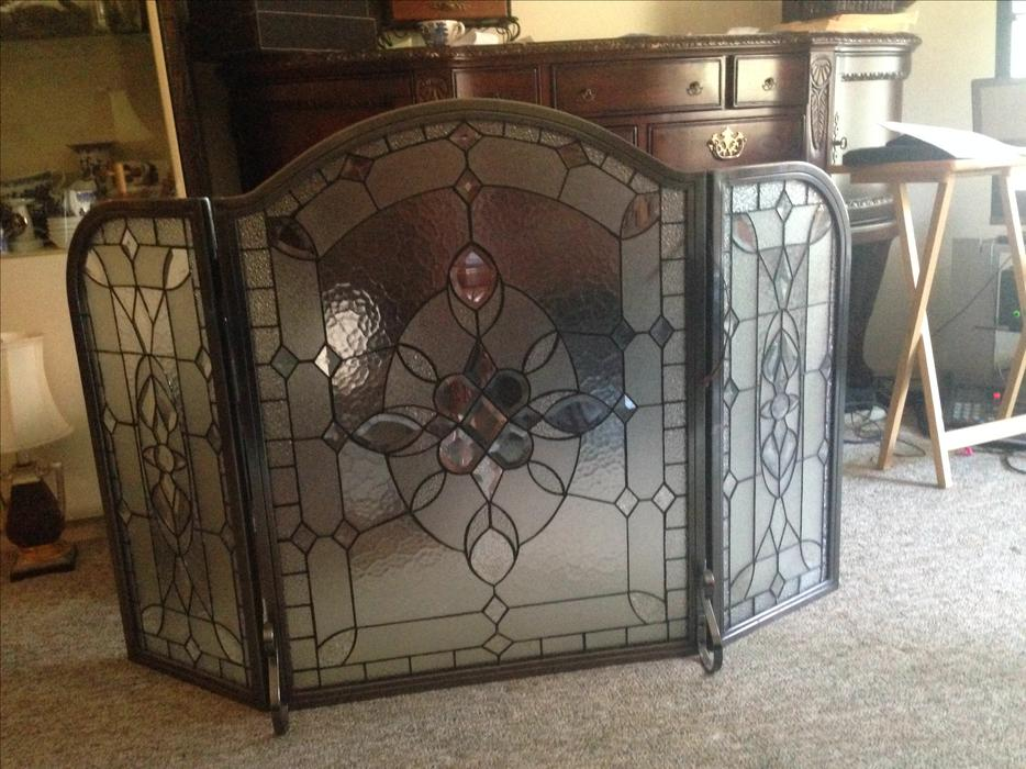 Heavy Glass Stained Fireplace Screen Victoria City Victoria