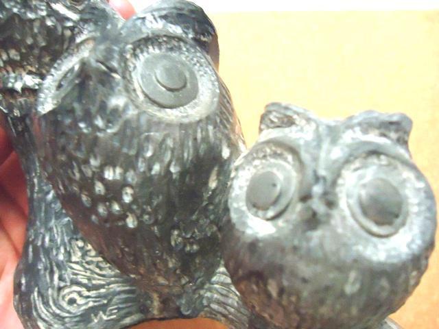 Wolf original inuit soapstone owl carving mom baby