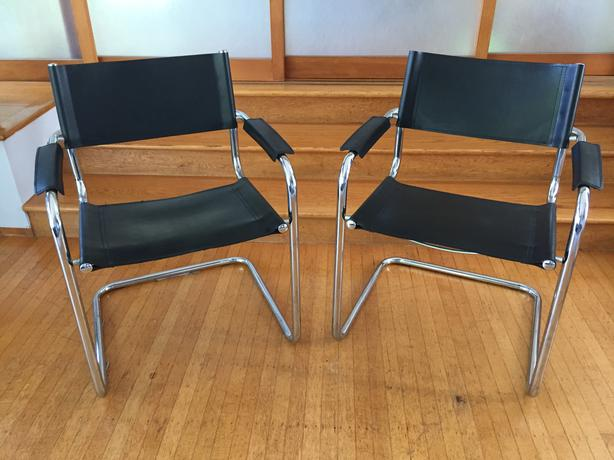 Two mid century modern black leather chrome armchairs for Cool armchairs