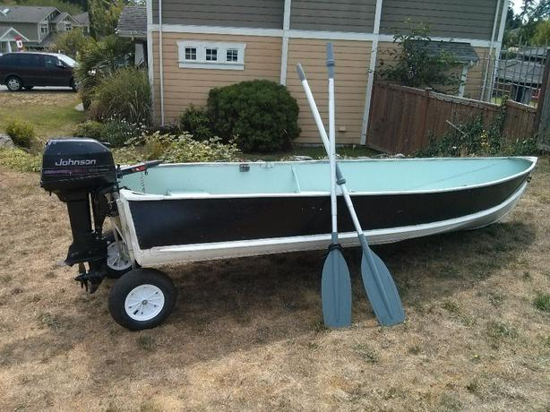 14 foot aluminum boat with 8 hp johnson motor sooke victoria Aluminum boat and motor packages