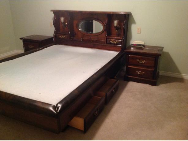 Queen Bed 6 Drawer Pedestal With Foam Mattress Cobble