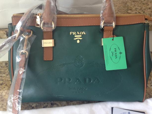 prada green cloth handbag