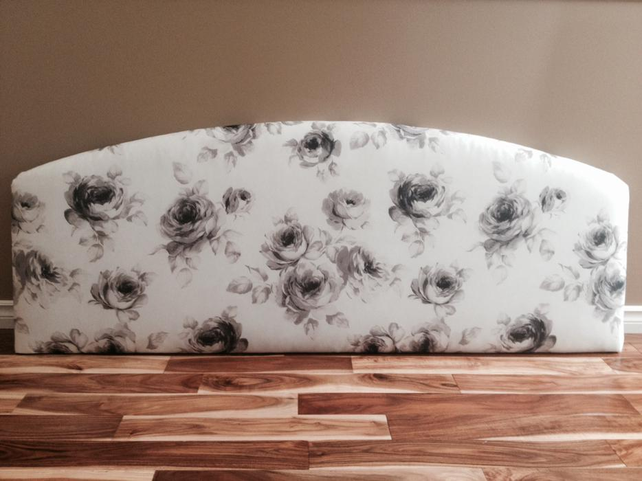 Padded Headboard Queen Size Wall Mount Rose Pattern North