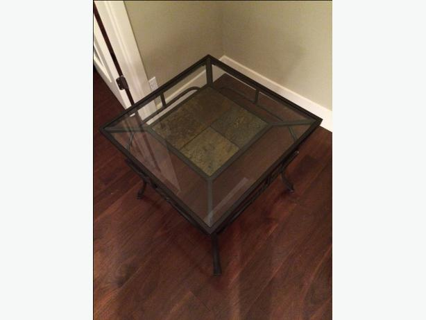 *~*MODERN GLASS/METAL/SLATE END TABLE IN EXCELLENT ...
