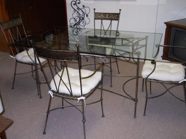 Wrought Iron Glass Dining Table
