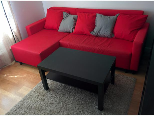 Red sofa bed w lounge chair & storage partment modern