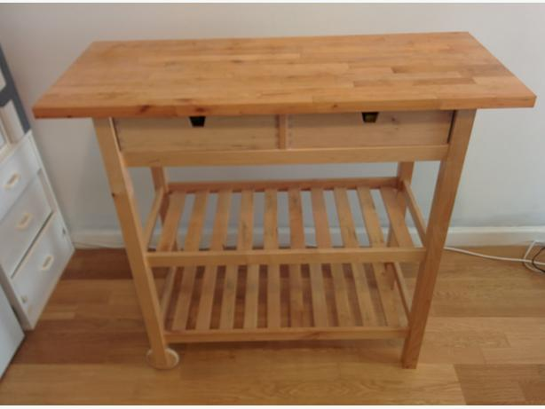 Birch Kitchen Cart Or Table With Wheels And Drawers