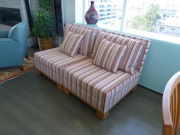 Striped living room easy chairs north saanich sidney for Striped chairs living room
