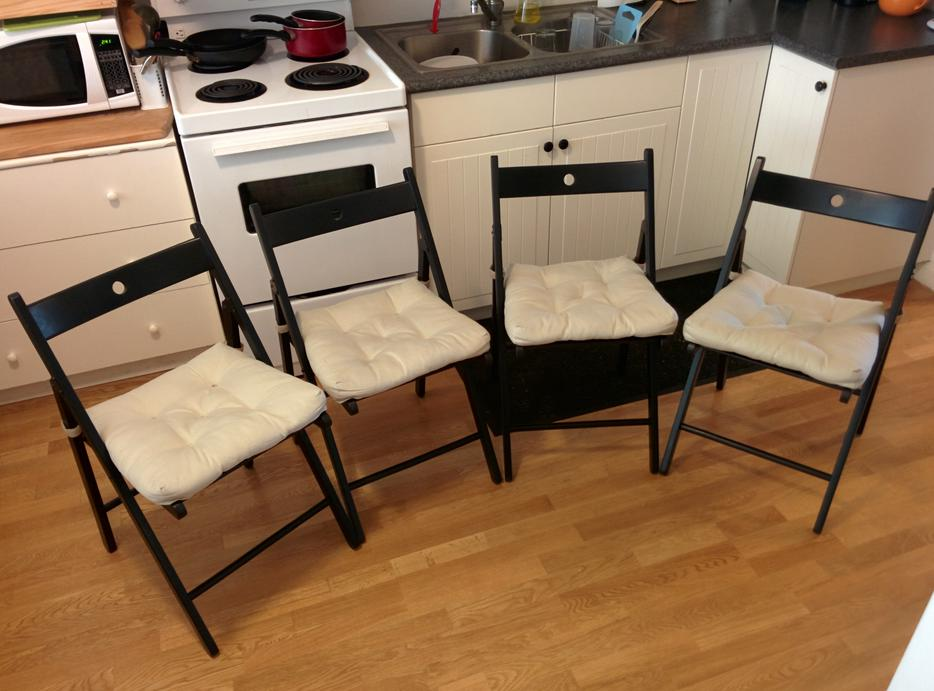Black wooden folding chairs with cushions great for Wood folding chairs ikea