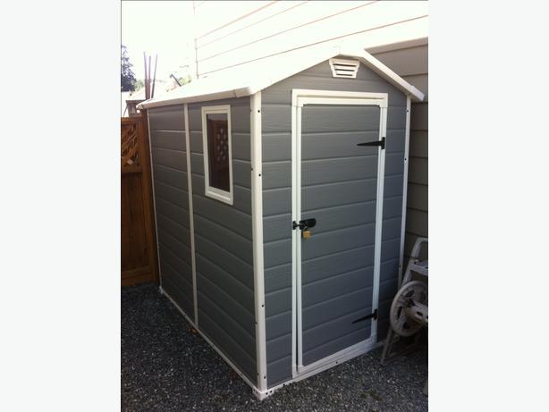 keter manor resin shed and shelving west shore langford. Black Bedroom Furniture Sets. Home Design Ideas