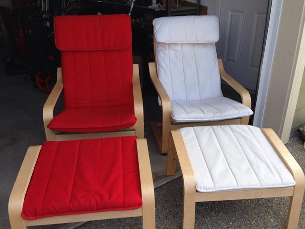 Ikea poang armchair and footstool 1 red set sooke victoria - Red poang chair ...