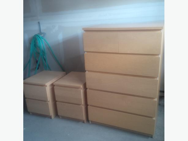 ikea dresser 2 night stands malm series nepean gatineau. Black Bedroom Furniture Sets. Home Design Ideas