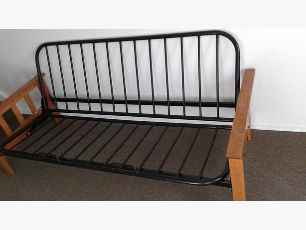Beautiful Black Metal And Wooden Sides Futon Frame Central