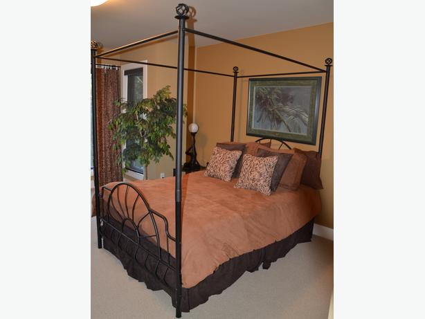 Metal Four Poster Bed Frame End Table Bookcase Central