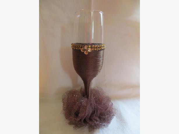 Decorative DIY  'Dress' Flute Glasses - $10/each - REDUCED