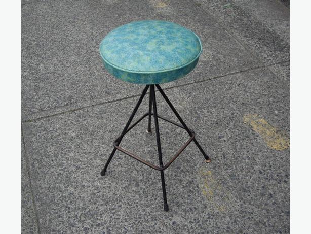 Retro atomic style metal frame teal pattern vinyl swivel bar stool chemainus cowichan - Teal blue bar stools ...