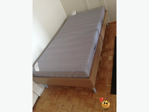 Ikea Sultan Huglo Grey Twin Mattress Mattress Base And