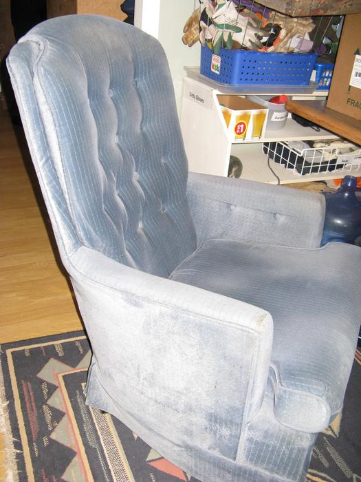 Blue Fabric Swivel Rocker Chair Nanoose Bay Nanaimo Mobile