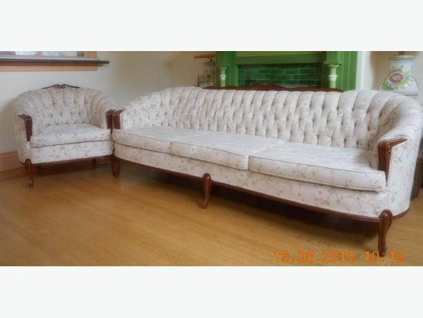 Sofa And Chair Button Back Cabriole Style Couch Saanich