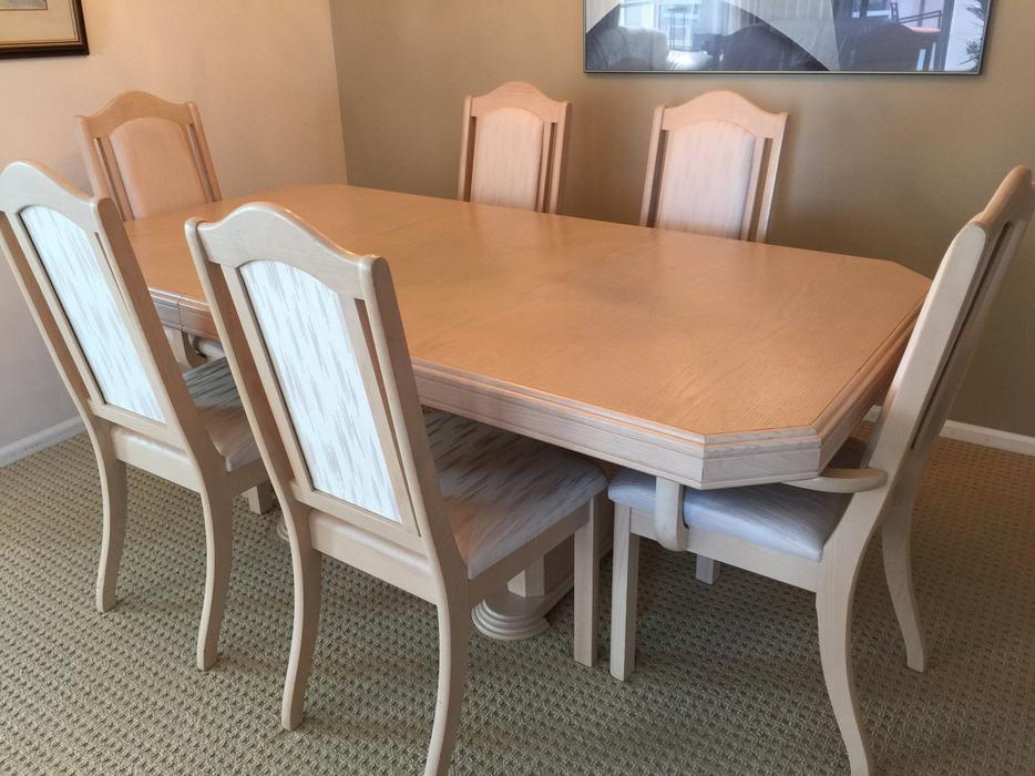 White oak dining room table 6 chairs china cabinet for White dining table and 6 chairs