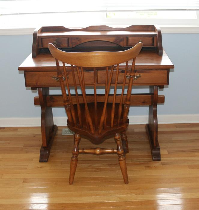 Pine Desk With Spindle Back Chair Mid Century Qualicum