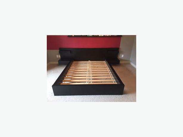 Ikea Malm Queen Platform Bed With Nightstands ~   Log In needed $250 · IKEA MALM QUEEN size bed frame + 2 night stands