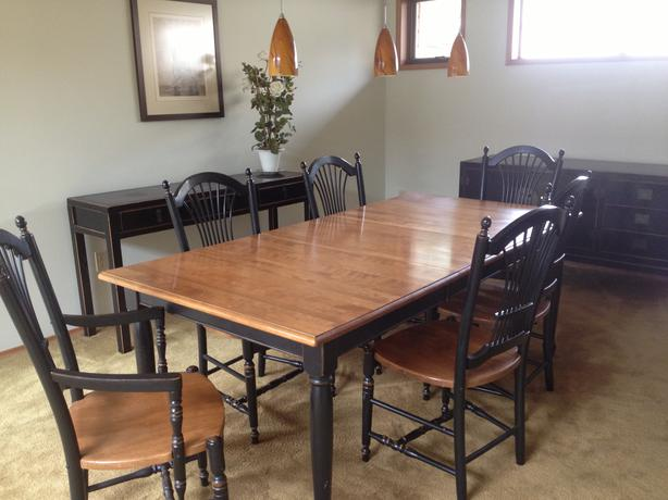 Dining room table and chairs duncan cowichan for Duncan 5 dining room table