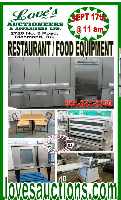 Restaurant equipment auction thursday sept th
