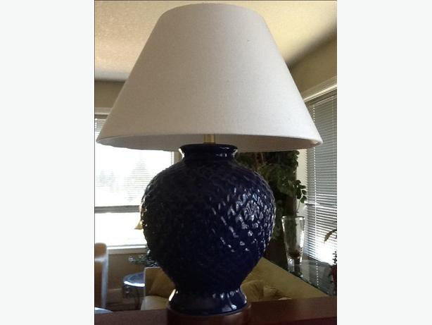Large Table Lamp Blue Base Linen Shade