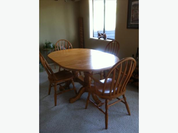 Double Pedestal Oak Dining Table amp 4 Chairs Victoria City  : 48600694614 from www.usedvictoria.com size 614 x 461 jpeg 22kB
