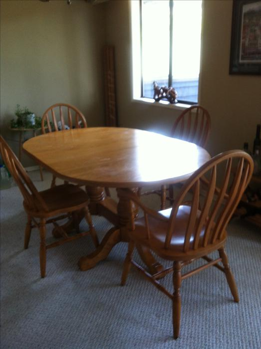 Double Pedestal Oak Dining Table Amp 4 Chairs Victoria City