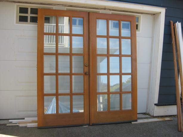 Solid fir exterior french doors with frame saanich victoria for Solid french doors exterior