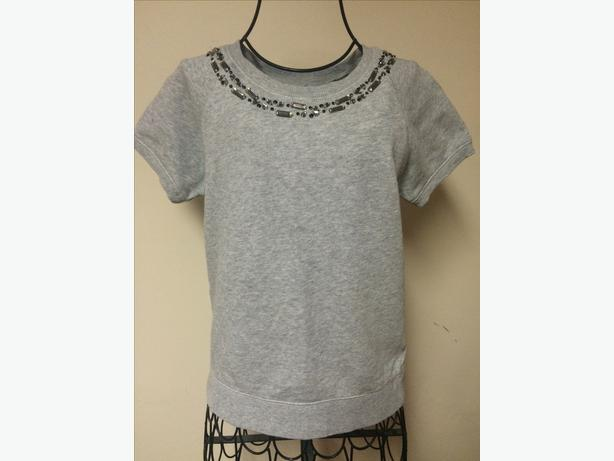 Joe Fresh Gray Knit Top w/ Beaded Neck Line - Children Size 14 XL