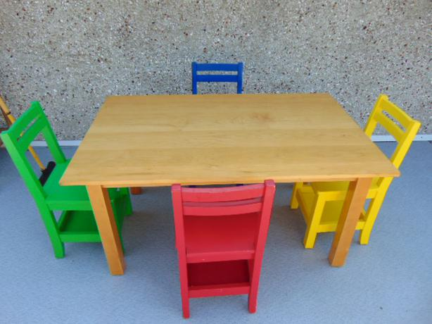 Childrens Large Heavy Pottery Barn Table And 4 Chairs Ages