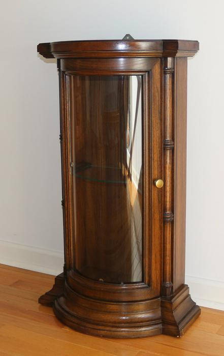 Curio Cabinet Vintage Walnt Curved Glass Table Top Wall