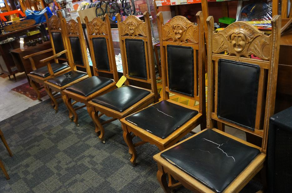 Set of turn the century hand carved oak dining chairs