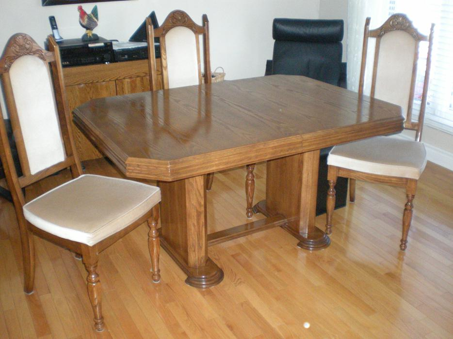 oak dining room set with buffet and hutch ensemble de salle diner