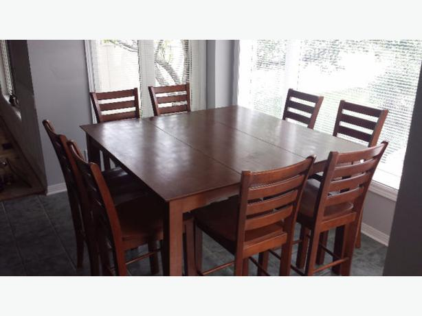 Pub style dining room set table with 8 chairs and a lazy for Pub style dining sets