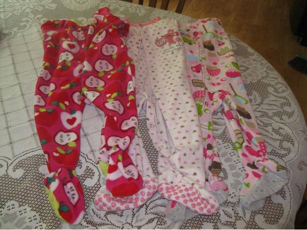 3 - Girls 1-piece PJS - size 12-18m (ALL 3 for ONLY $10)