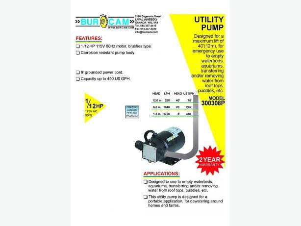 FS: BURCAM Minivac Utility Pump, 115V Ac