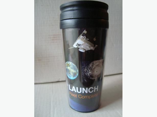 Travel coffee mugs with satellite and rocket photos
