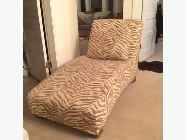 Chaise lounge animal print victoria city victoria for Animal print chaise lounge furniture