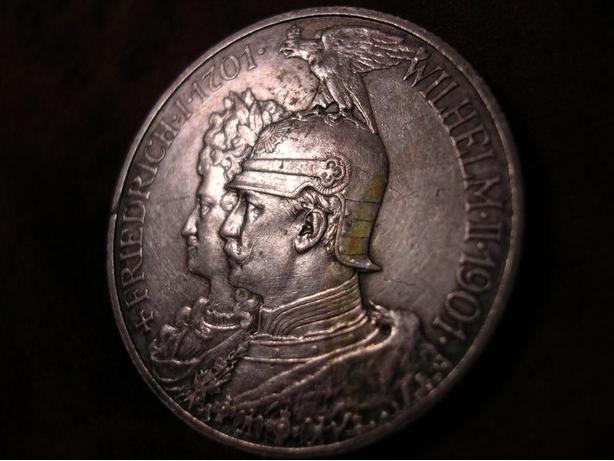 PRUSSIA 2 MARK 1901 COMMEMORATIVE, GERMAN SILVER, BEAUTIFUL COIN !