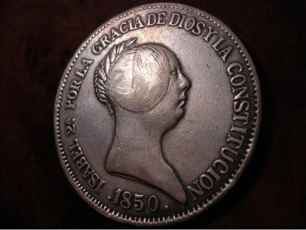 SPAIN 20 REALES 1850 ISABEL II NICE LARGE SILVER COIN, SCARCE !